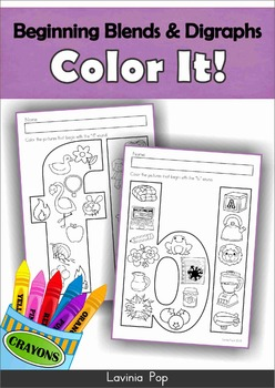 Beginning Blends and Digraphs - Color It!