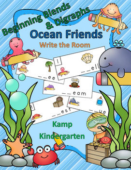 Beginning Blends and Digraphs Ocean Friends Write the Room