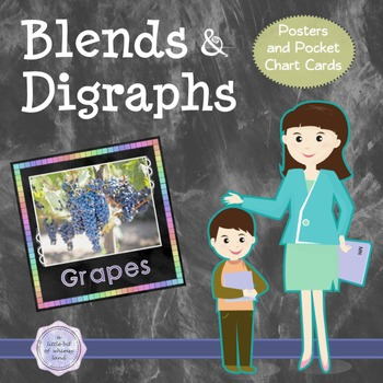 Blends & Digraphs Posters Set ~*Rainbow Chalkboard Brights*~