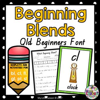 Beginning Blends bl cl fl gl pl sl QLD Beginners Font