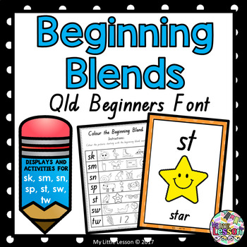 Beginning Blends sk sm sn sp st sw tw QLD Beginners Font