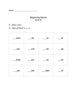 Beginning C, K and Ending K, CK