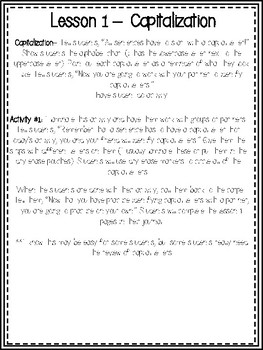 Beginning Capitalization and Ending Punctuation Writing Journal
