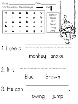Beginning Comprehension & Word Search Primary