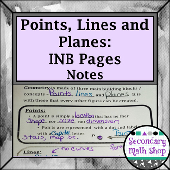 Beginning Concepts - Points, Lines and Planes Interactive Notebook Pages