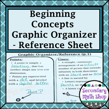Beginning Concepts - Points, Lines and Planes Reference/Graphic Organizer