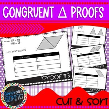 Beginning Congruent Triangles Proofs: Cut & Sort; Geometry