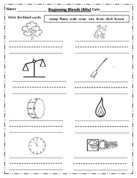 Blends Worksheets (Contain two Beginning consonant)