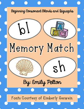 Beginning Consonant Blends/Digraphs Memory Match (K-1)