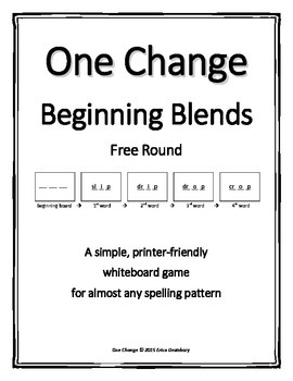 "Beginning Consonant Blends- ""One Change"" Whiteboard Game (free round)"
