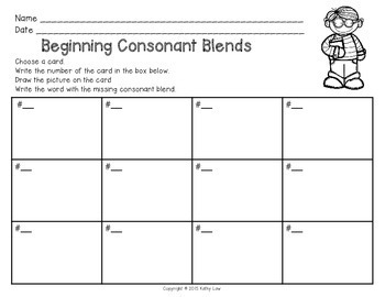 Beginning Consonant Blends Task Cards