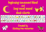 Beginning Consonant Blends and Long Vowel Sound Desk Charts