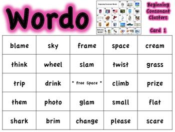 Beginning Consonant Cluster WORDO (Bingo Game)