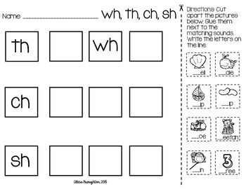 Beginning Consonant Digraph Printable *FREEBIE!*