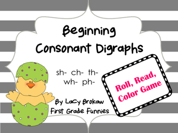Beginning Consonant Digraph Roll Read Color Game sh ch th ph wh