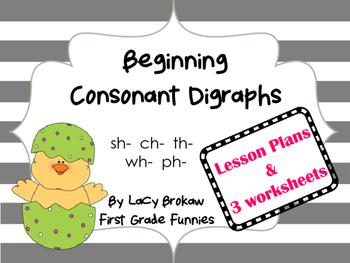 Beginning Consonant Digraph worksheets sh ch th ph wh