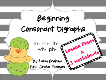 Beginning Consonant Digraph worksheets sh ch th ph wh