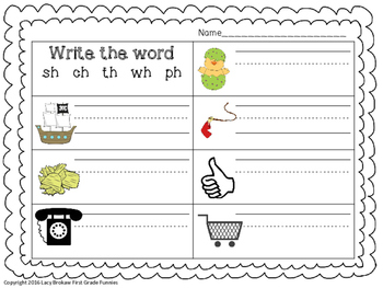 Beginning Consonant Digraph write the word sh, th, ch, wh, ph