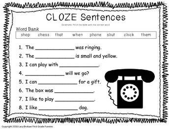 Beginning Consonant Digraphs CLOZE sentences worksheet