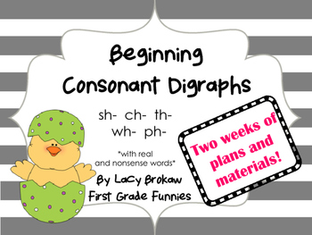 Beginning Consonant Digraphs Pack  sh ch th wh ph