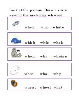 Beginning Consonant Letter Team Circle WH Word ELA Reading Journal Supplement 1p