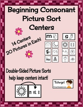 Beginning Consonant Picture Sorting Centers Set of 14 Lite