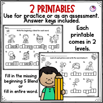 S Blends Clip Cards and Printables