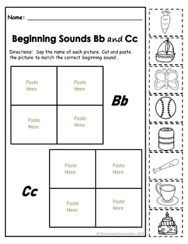 Beginning Consonant Sound- Cut and Paste
