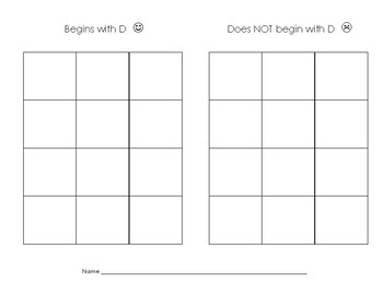 Beginning Consonant Sounds Picture Sorts