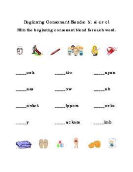 Beginning Consonants Blends Write Letters BL SL CR CL Kindergarten Reading