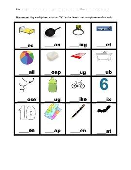 Beginning Consonants Morning Work Seat Work