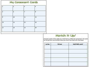 Beginning Consonants Task Cards and Matching Game Set