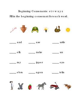 Beginning Consonants Write Fill-in Letters S T V W X Y Z Kindergarten Reading 1p