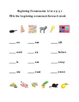 Beginning Consonants Write Letters K L M N P Q R Printable Kindergarten Reading
