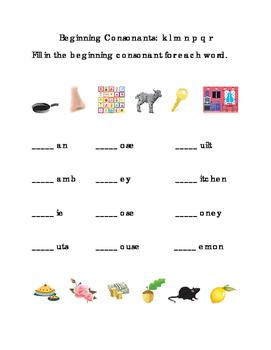 Beginning Consonants Write Letters K L M N P Q R Printable