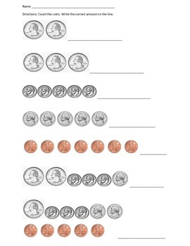 Beginning Coins/Money Counting Practice 2
