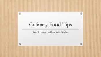 Beginning Culinary Food Techniques Power Point & Lab Sheets