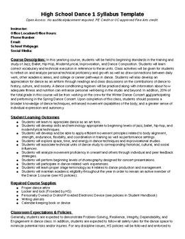Dance company syllabus template by dance teacher resources | tpt.