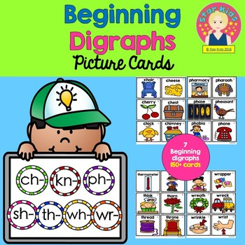 Beginning Diagraphs Picture Cards for Kindergarten and First Grade