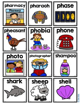 Beginning Digraphs Picture Cards {For Small Pocket Charts} for K-1