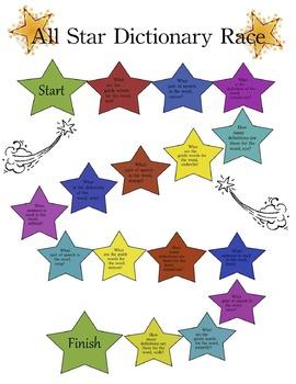Beginning Dictionary Skills game and follow-up sheet