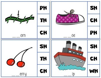 Beginning Digraph Clip Cards