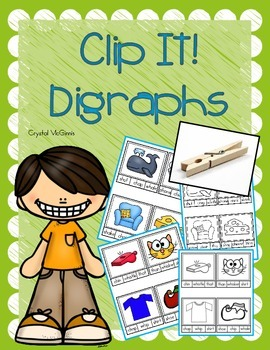 Beginning Digraph Clip It Cards! Literacy Center Activity (27 Cards)