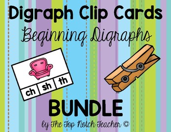 Beginning Digraph Phonics Clip Cards & NO PREP worksheets!