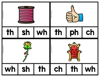 Beginning Digraph Phonics Clip Cards & NO PREP worksheets!