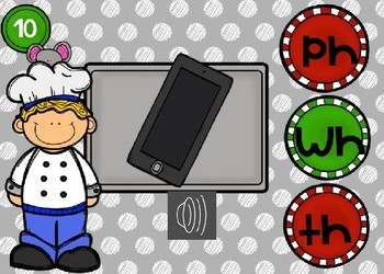 Beginning Digraph Sounds Power Point Game with Audio (Cooking Theme)