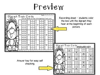 Beginning Digraph Task Cards