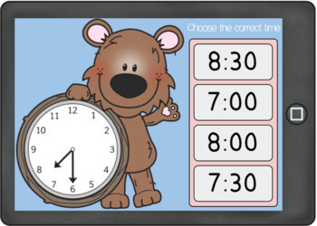 Telling Time to the Hour and Half-Hour Boom Cards