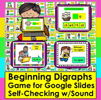 Beginning Digraphs GAME for GOOGLE SLIDES:  Self-Checking WITH SOUND PDF