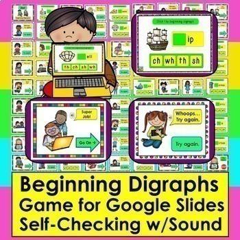 Beginning Digraphs Interactive GAME for Google Slides:  Self-Checking + Sound